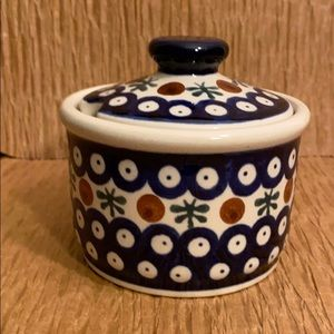 Polish Pottery Nature Pattern Sugar Bowl with Lid
